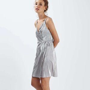 Topshop Silver Pleated Metallic Wrap Dress Tie